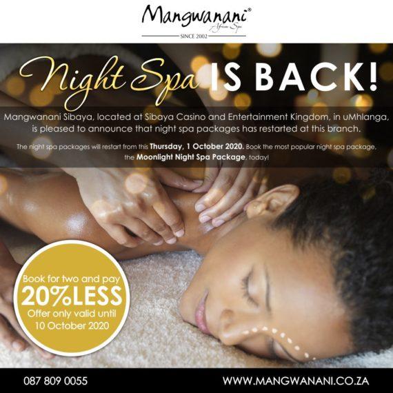 Moonlight Night Spa Offer at Sibaya